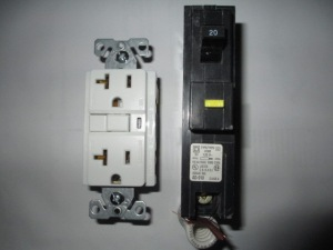 GFI receptacle and breaker